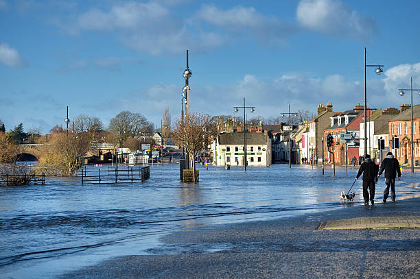 flooding in the scottish town of dumfries. - 2015 stok fotoğraflar ve resimler