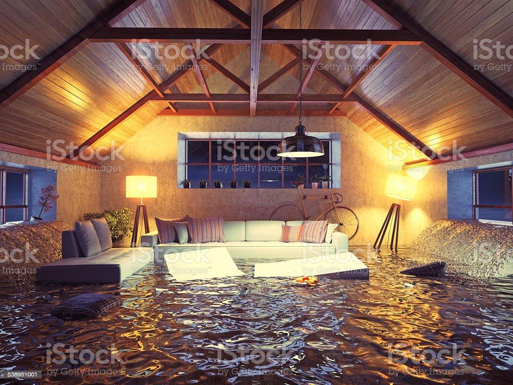flooding modern interior loft in the evening. 3d concept design.