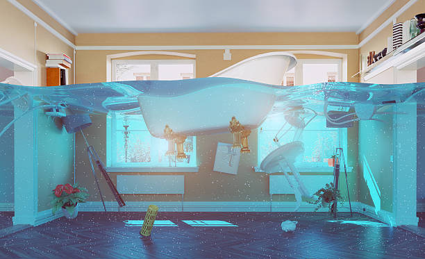 flooding interior - flooded room stock photos and pictures