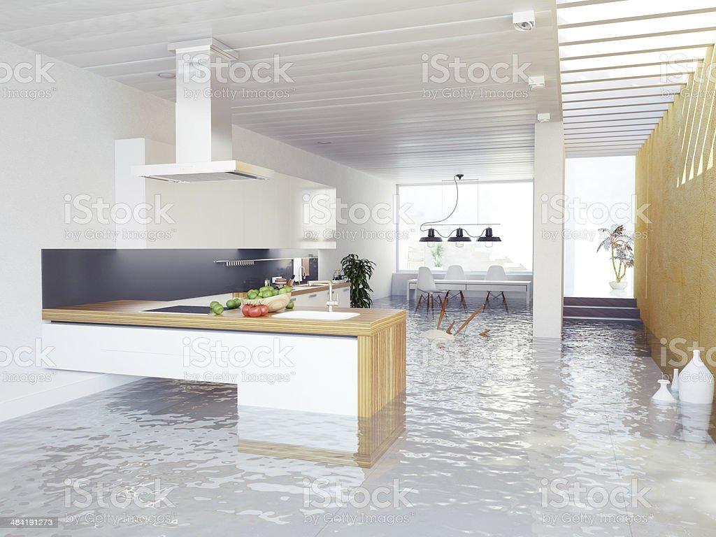 flooding kitchen stock photo