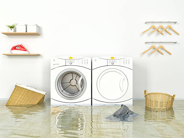 Flooding Laundry room stock photo