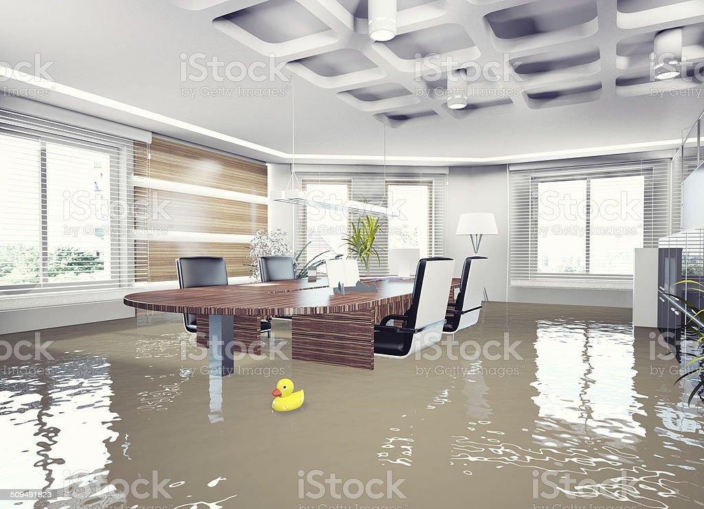 flooding office interior. stock photo