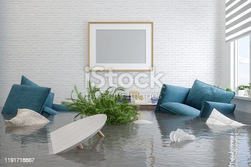 istock Flooding Room With Blank Frame Hanging On The Wall 1191718867