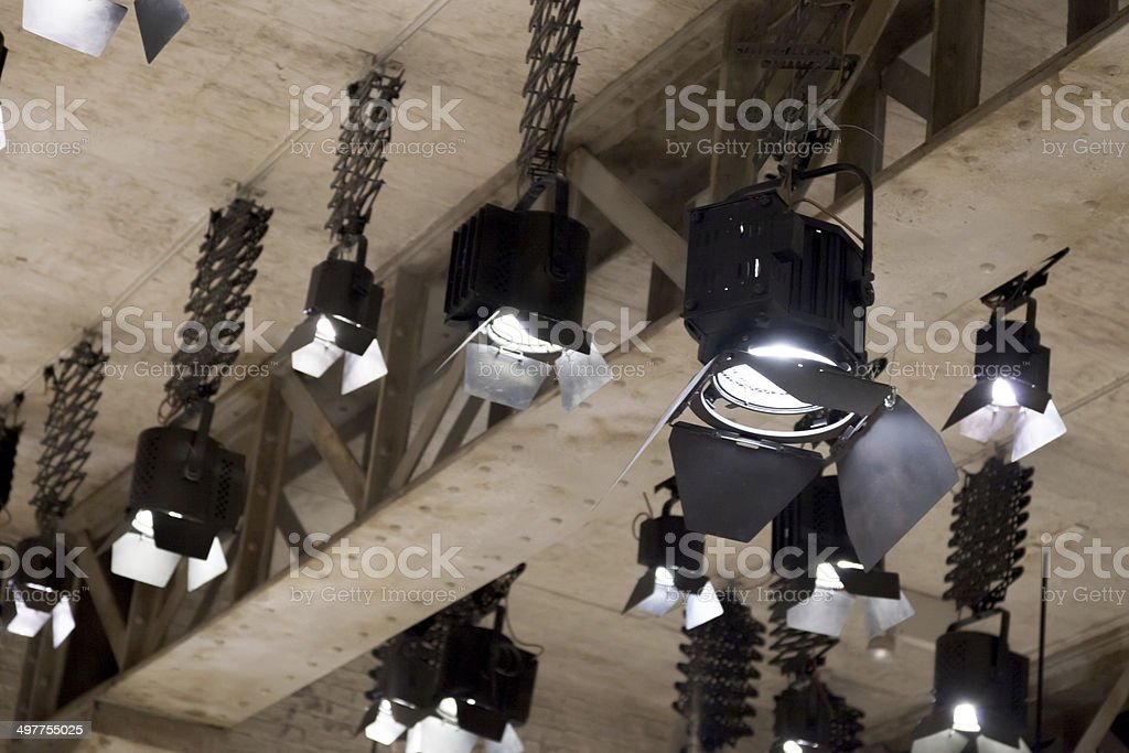 Floodlights at a film studio stock photo