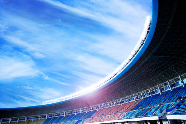 Floodlights at an empty stadium in China stock photo