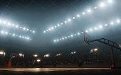 Basketball court with basketball hoop