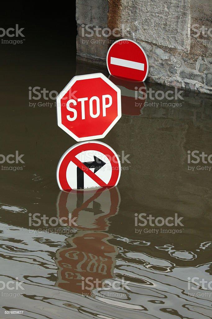 Floods in Usti nad Labem, Czech Republic. stock photo