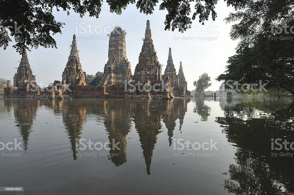 Floods Wat Chaiwatthanaram November 2011  in Thailand royalty-free stock photo