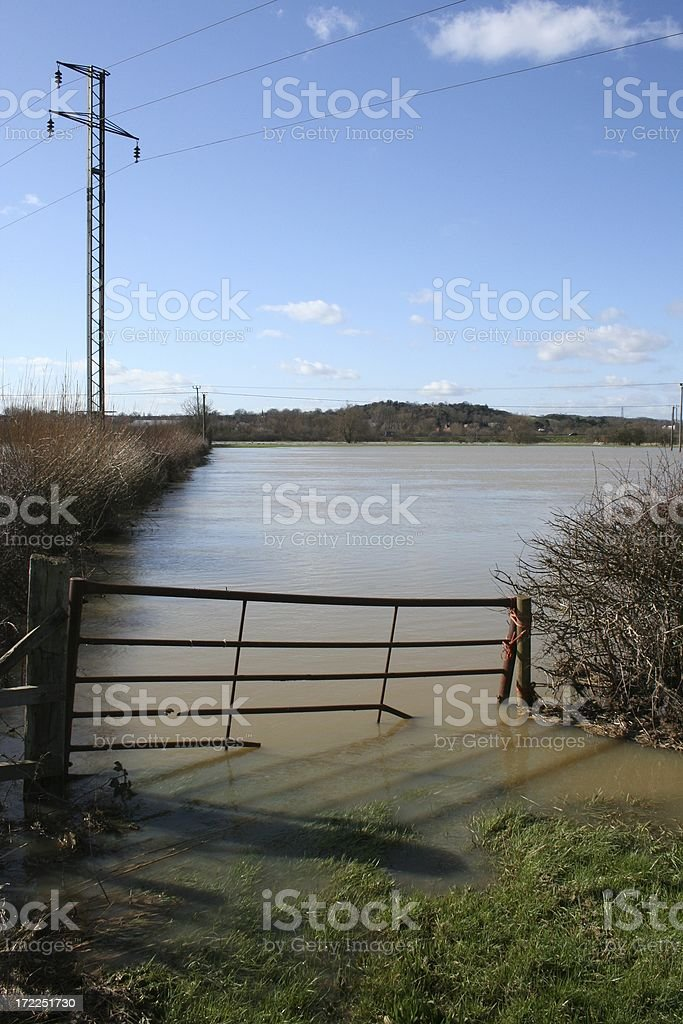 Floodwater from River Soar in Leicestershire royalty-free stock photo