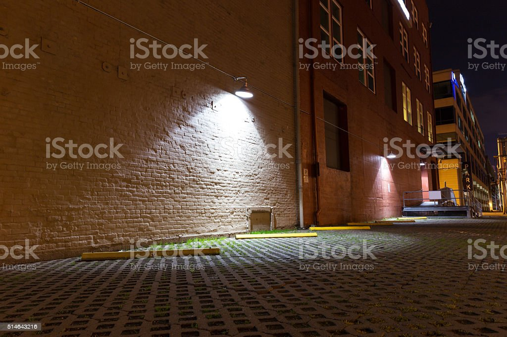floor and  wall with a light in seattle at night stock photo