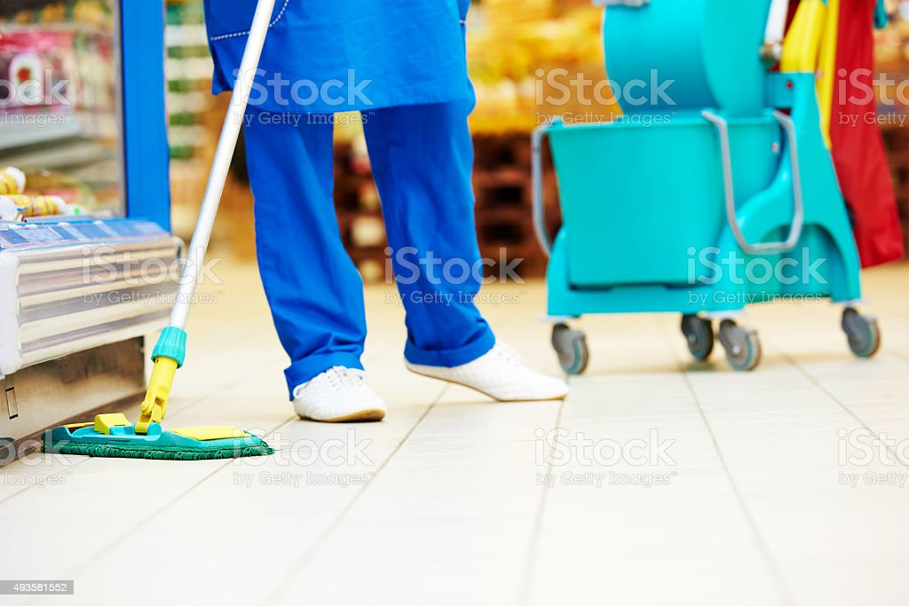 Floor care and cleaning services stock photo