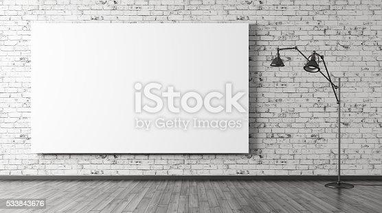istock Floor lamp and big poster interior background 3d rendering 533843676