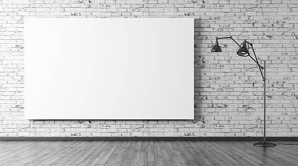 Luminária de piso e grandes cartaz fundo interior representação artística em 3d - foto de acervo