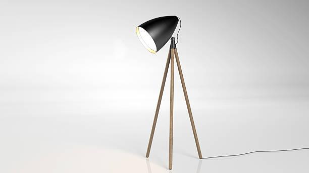 lampe de sol isolé sur fond blanc - lampe électrique photos et images de collection