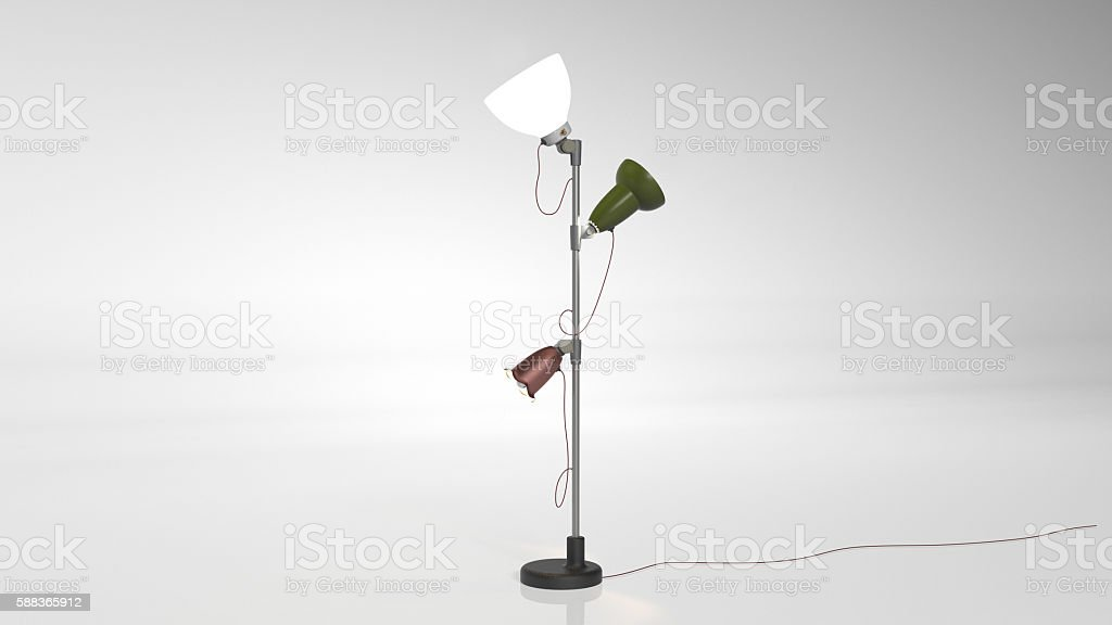 Floor lamp, three lamps on stand isolated on white background stock photo