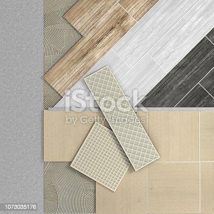 istock Floor layers. Tile floor. 3d illustration 1073035176