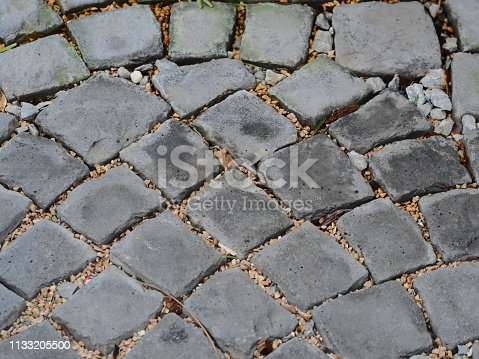 istock Floor Old cobblestone pavement 1133205500