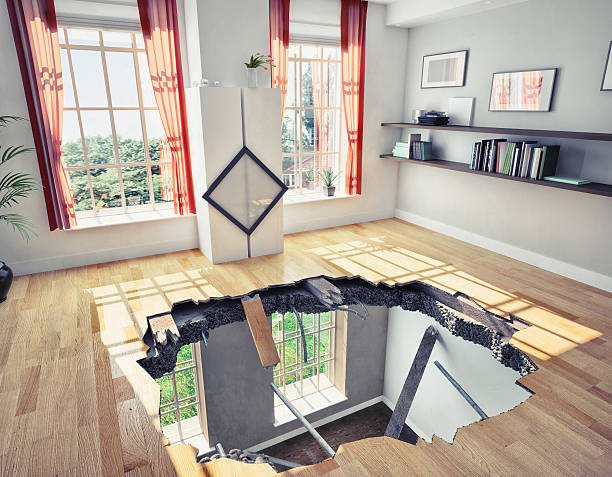 floor broken  floor of a residential apartment (illustrated concept) collapsing stock pictures, royalty-free photos & images