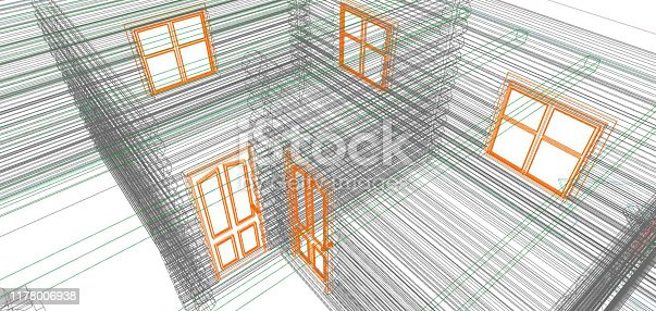 istock Floor plan drawing. Architectural building drawing. 1178006938