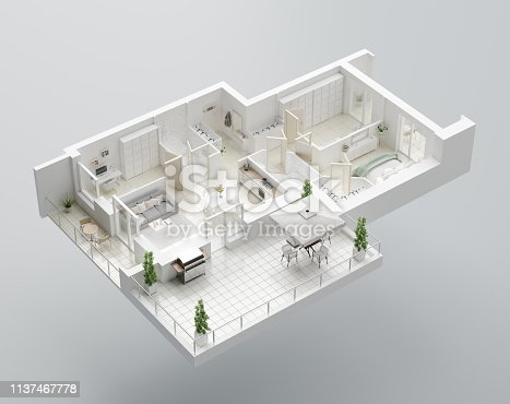 istock 3D Floor plan of a home. Open concept living apartment layout 1137467778