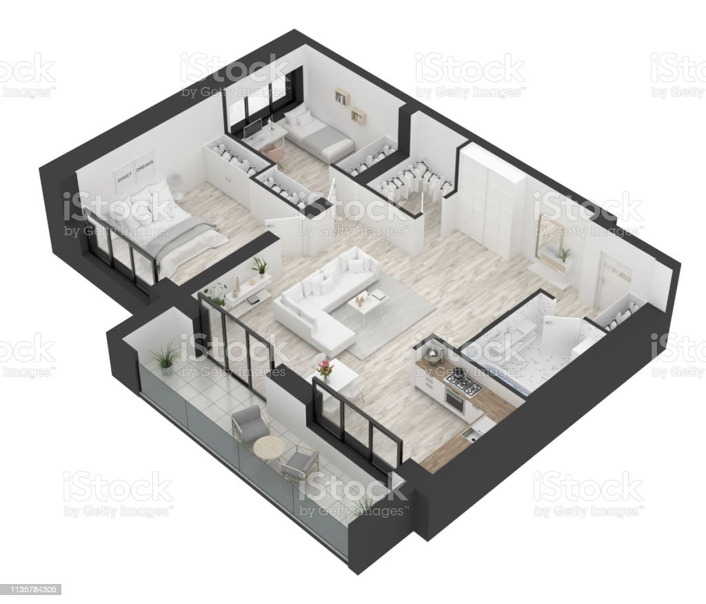Floor Plan Of A Home Top View Open Concept Living Apartment Layout Stock Photo Download Image Now Istock