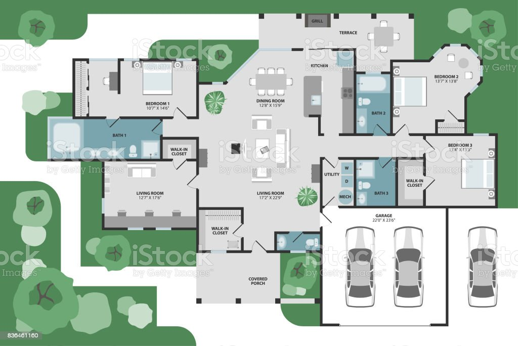 Floor plan of a house stock photo
