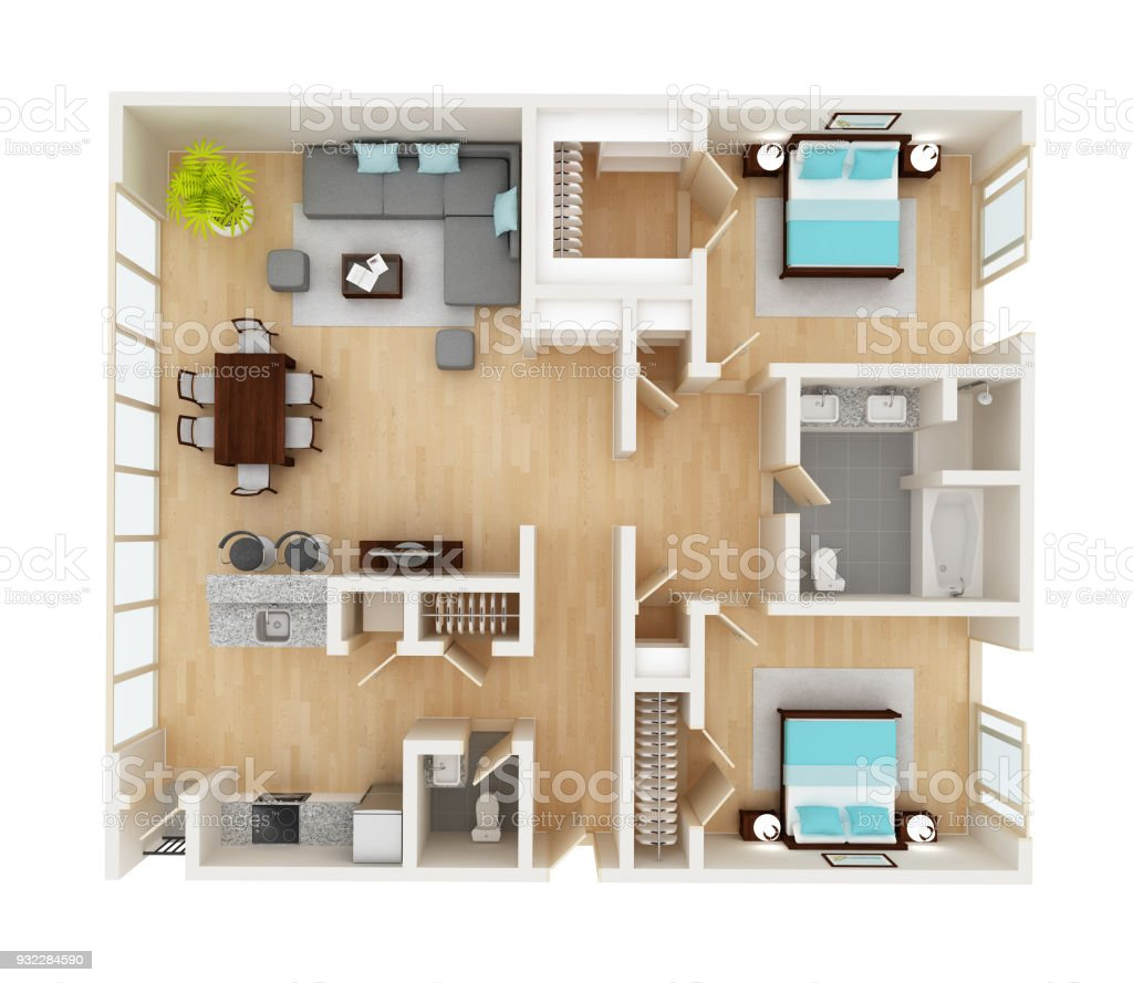 Floor plan of a house top view 3D illustration. Open concept living room, two bedroom layout. stock photo