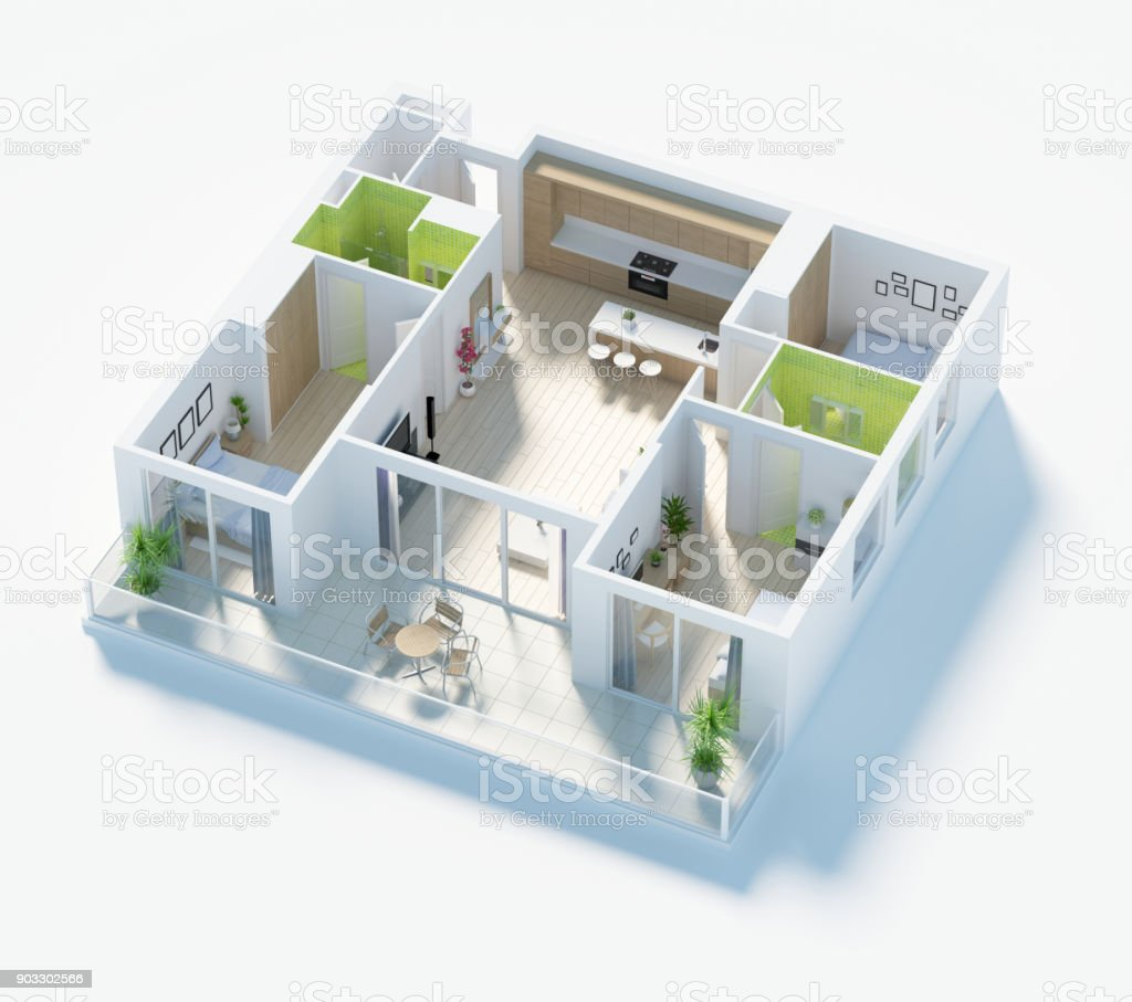 Floor Plan Of A House Top View 3d Render Stock Photo