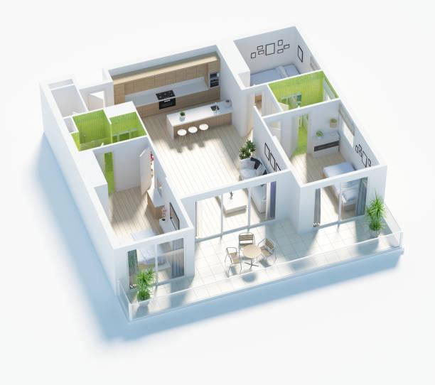 Grundriss des Hauses Draufsicht 3D render – Foto
