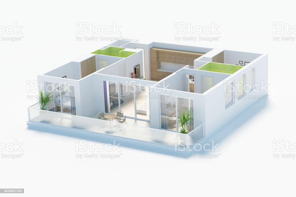 Floor Plan Of A House Top View 3d Render Stock Photo Download Image Now