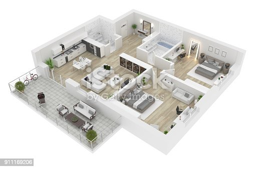 istock Floor plan top view. Apartment interior isolated on white background. 3D render 911169206