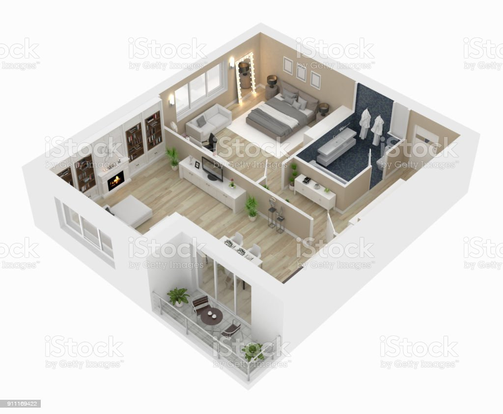 Floor Plan Top View Apartment Interior Isolated On White ...