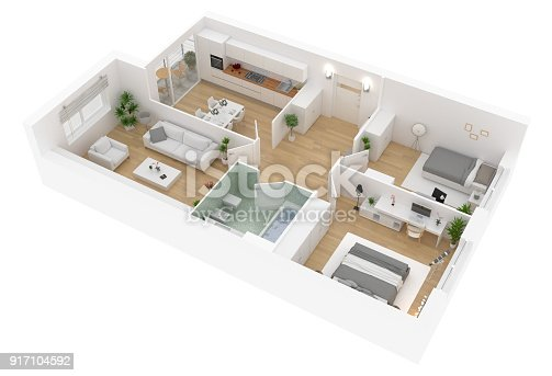 istock Floor plan top view. Apartment interior isolated on white background 917104592