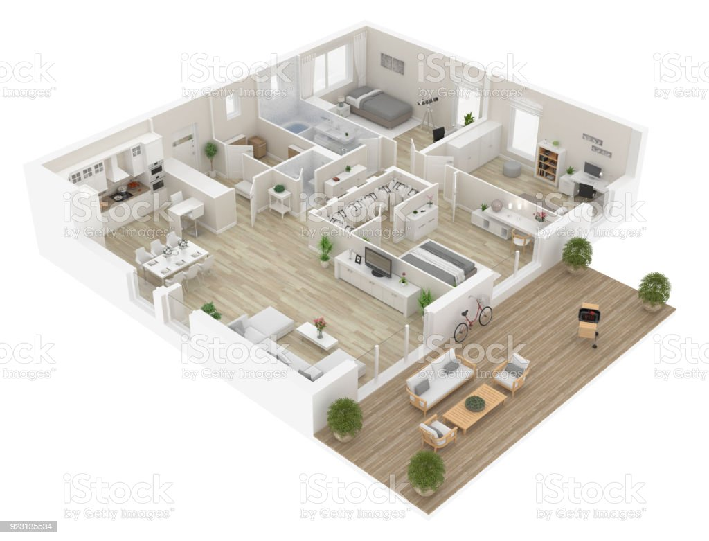 Apartment interior isolated on white background. 3D render