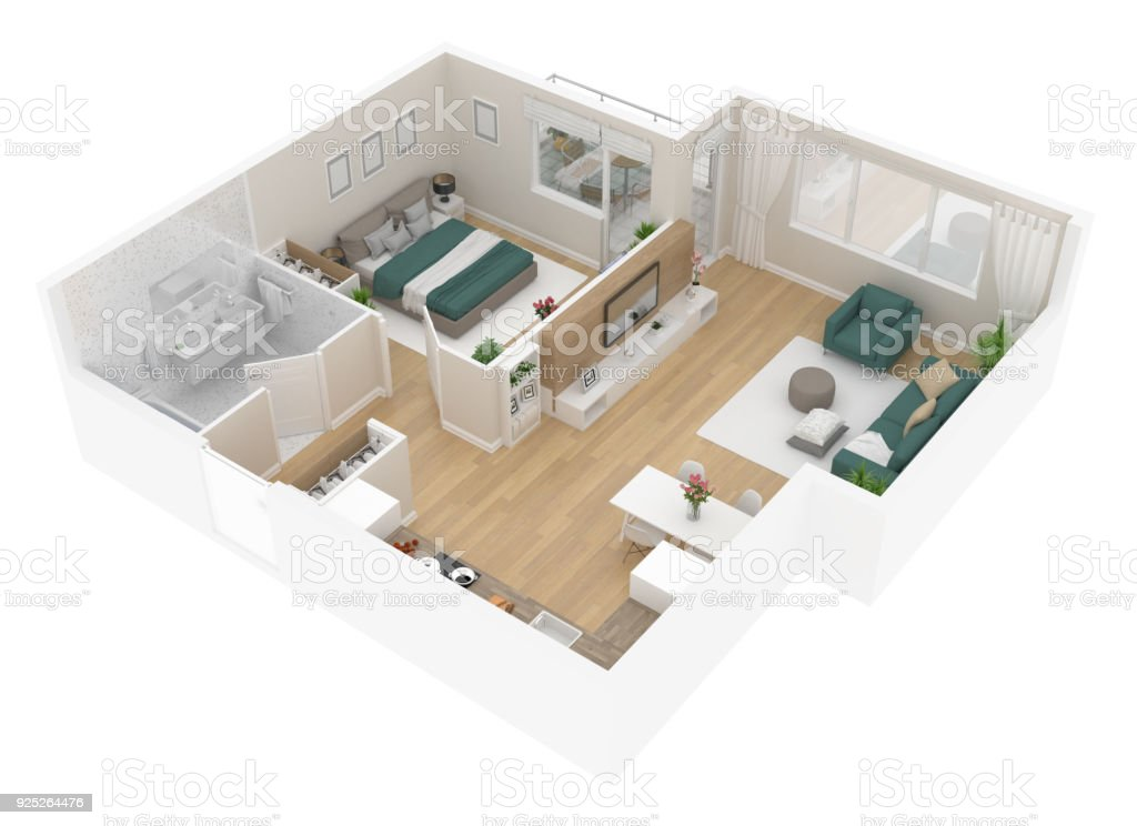Floor plan top view. Apartment interior isolated on white background stock photo