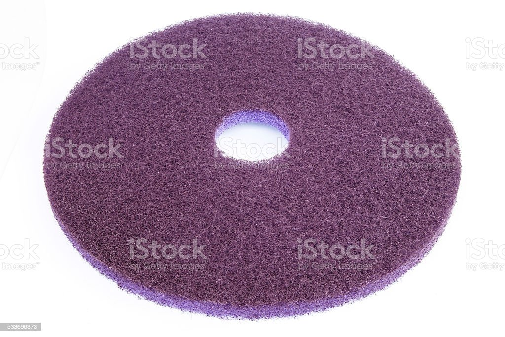 Floor polishing pad isolated on white background stock photo