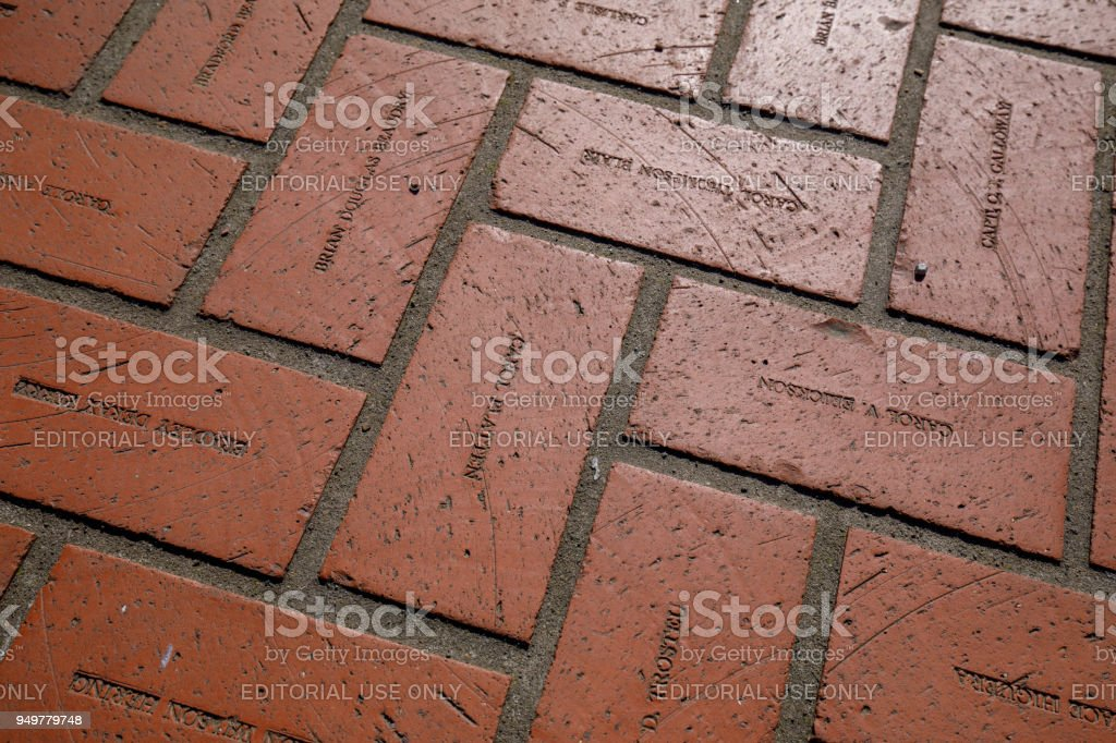 Floor red bricks with engraving names at Pioneer Courthouse Square in Portland stock photo