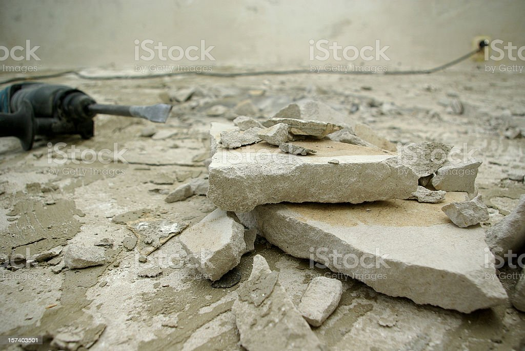 floor renovation in abandoned room stock photo