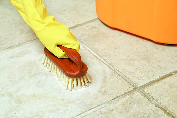 floor scrubbing hand in rubber glove scrubbing the floor scrubbing brush stock pictures, royalty-free photos & images