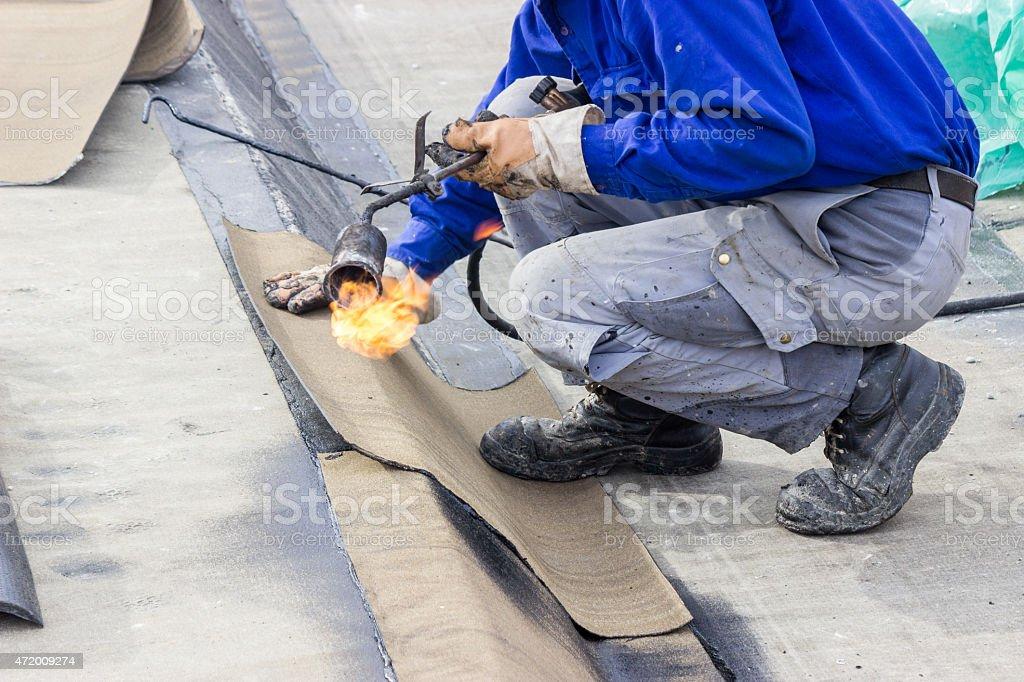 floor slab waterproofing works stock photo