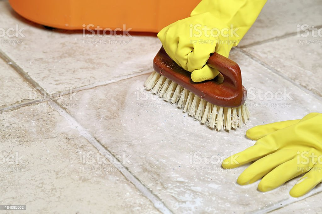 floor srubbing stock photo