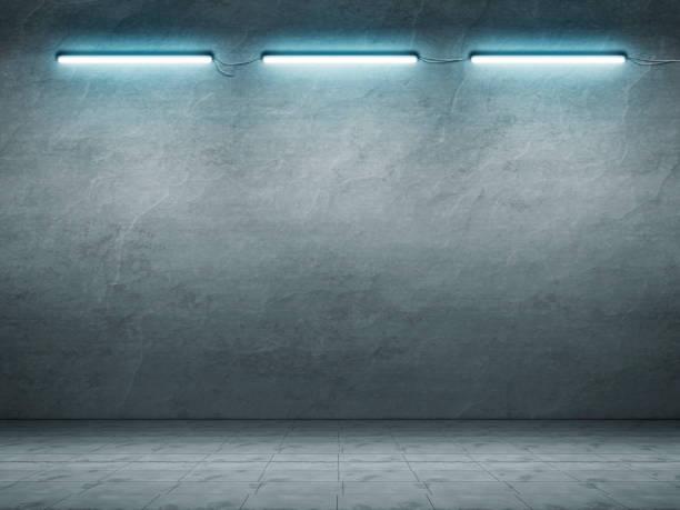 floor with neon light stock photo