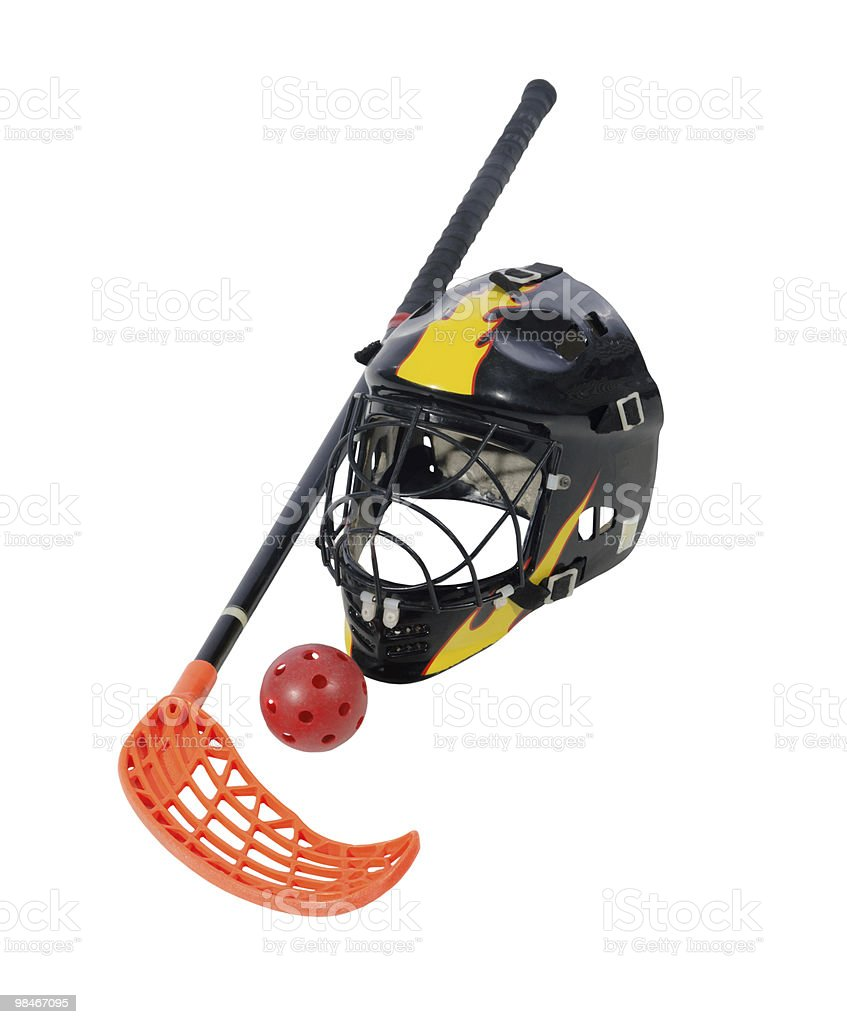 floorball stick, helmet and ball royalty-free stock photo