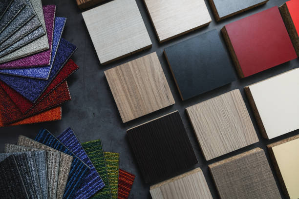 flooring and laminate furniture material samples for interior design project stock photo