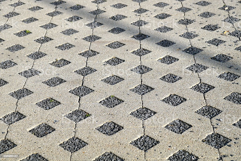 flooring assembled on a substrate of sand type permeable to stock photo