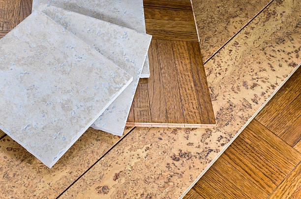 Flooring Sections of Wood Cork and Tile stock photo