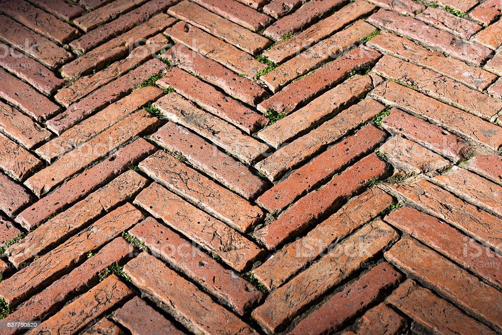 Flooring with old Bricks - Siena Italy stock photo