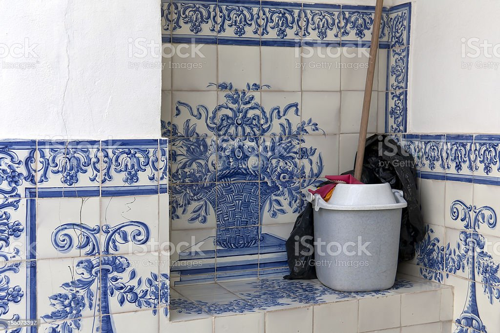 Floor-washing bucket in Lisbon royalty-free stock photo