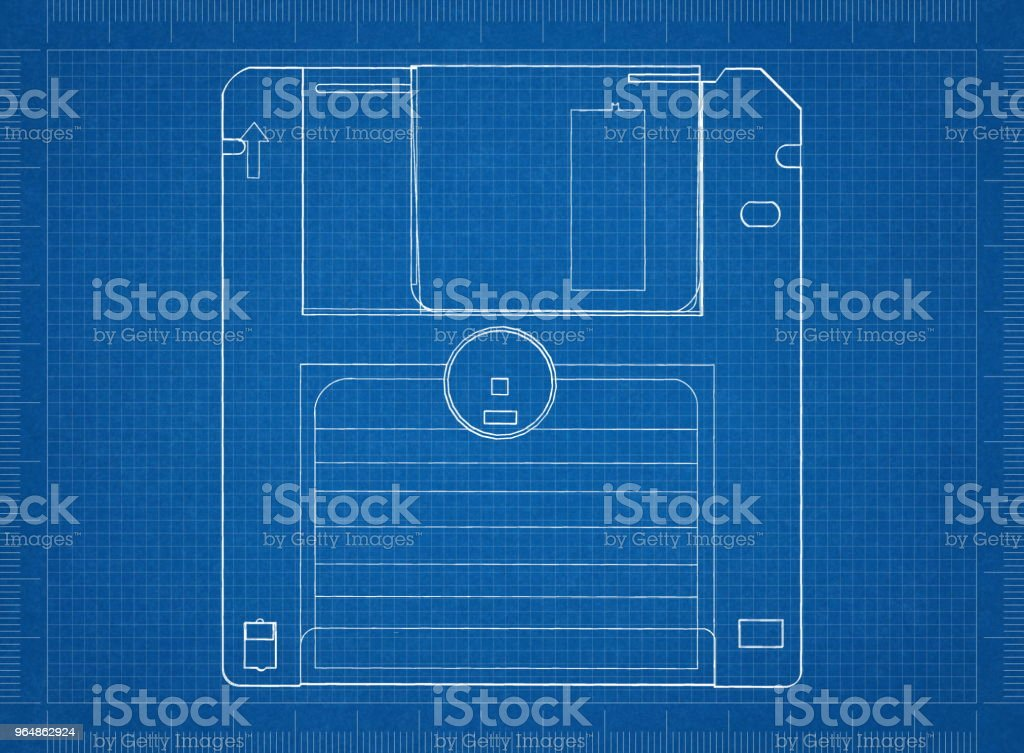 Floppy disk Architect blueprint royalty-free stock photo
