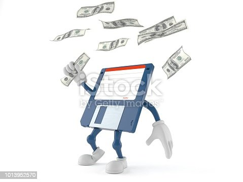 Floppy disk character catching money isolated on white background. 3d illustration